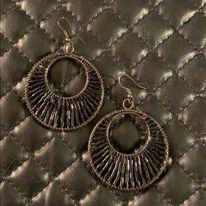 Free People Black Seed Bead Gypsy Hoop Earrings